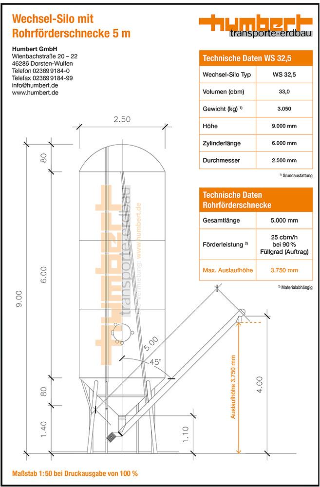 Datenblatt Humbert Wechsel-Silo 32 cbm mit Rohrförderschnecke 5 m